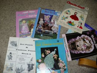 Assorted Old Craft Instruction Booklets Egg Cartons Chenille Art Foam