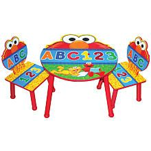 Sesame Street Elmo Table Chairs Set Childs Wood Chair