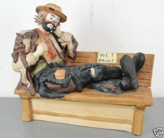 Emmett Kelly Jr Clown Limited Edition Wet Paint Park Bench Figurine