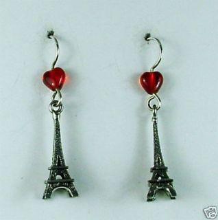 Sterling Silver Pewter Eiffel Tower Earrings Paris