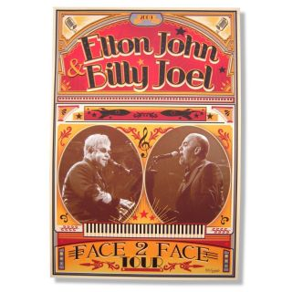 ELTON JOHN BILLY JOEL 2009 FACE 2 FACE TOUR POSTER LITHOGRAPH NUMBERED