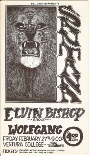 Santana Elvin Bishop Ventura 1969 Fillmore Era Concert Handbill Lee