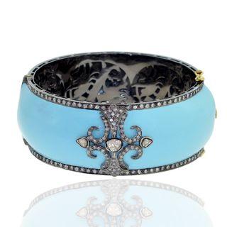 Designer Diamond Bangle 18K Yellow Gold Silver Enamel Jewelry