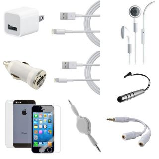 New 8 Pin USB Home+Car Charger+2 Data Cable +Aux for iPod Touch iPhone