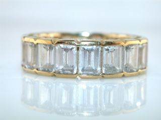 emerald cut cz sterling silver gold vermeil eternity style ring