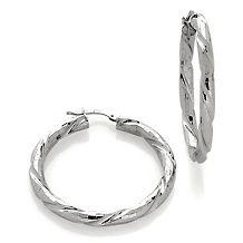 italian silver diamond cut twist sterling silver hoops $ 54 90
