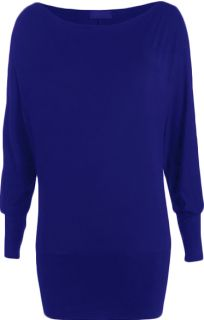 New Ladies Batwing Long Sleeved Top Womens Sizes 8 14