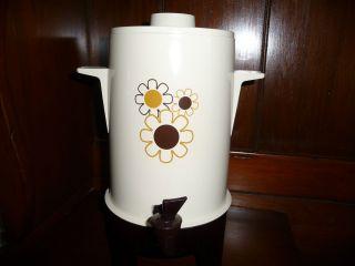 VTG POLY PERK REGAL WARE Electric Coffee Pot Retro Daisy Flower