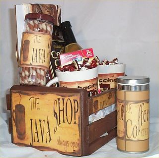 Coffee Gift Basket Cafe Java 2 Mugs Candy Towel Cookies Syrup Wood