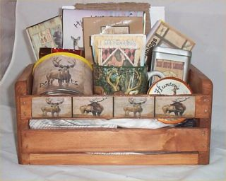 Deer Lodge Hunters Gift Basket Cabin Wood Crate Gift Mug Coffee