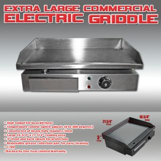 Electric Griddle Stainless Steel Flat Top for Commercial Home Use 110V