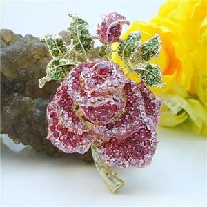 Flower Rose Bud Leaf Brooch Pin Lapel Swarovski Crystal