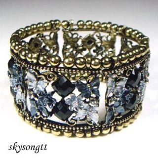 Black Enamel Butterfly Crystal Bangle Bracelet B1073X