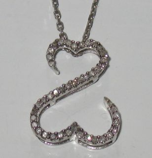 JANE SEYMOUR Open Heart 14KT WHITE GOLD Diamond NECKLACE 18 20
