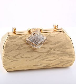 Modern Evening Bag Metal Frame Swarovski Crystal Gold