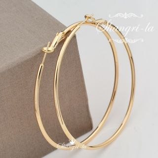 9K 9CT GOLD GF Extra LARGE Plain ROUND HOOP EARRINGS SOLID EX436