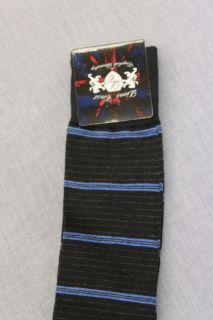 ENGLISH LAUNDRY Mens BLACK with BLUE STRIPED DRESS SOCKS NWT Size 10