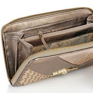 Elliott Lucca Navarre Woven Leather Zip Top Wallet