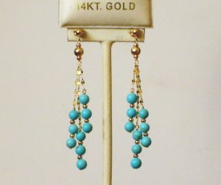 Solid Yellow Gold Natural Turquoise Round Ball Elegant Earrings