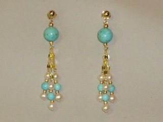 14K solid yellow gold white pearl turquoise elegant earrings