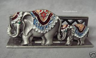 Bejeweled Lucky Elephant Business Card Holder Stand New