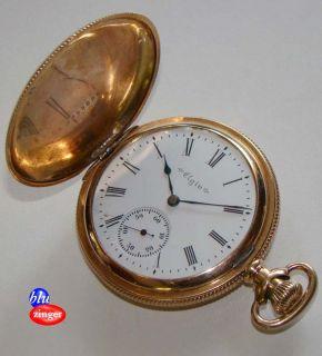 Antique ELGIN 14K GF Keystone J Boss Hunter Case Pocket Watch