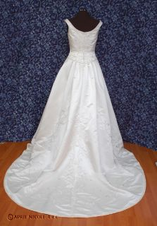 Ivory Satin Beaded A Line Wedding Dress 14 NWD