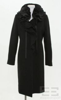 Elie Tahari Black Wool Tiered Collar Snap Front Coat Size Small