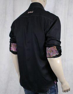 BERTIGO Fabio 18 Mens Woven Dress Shirt Black Shadow Stripe Purple