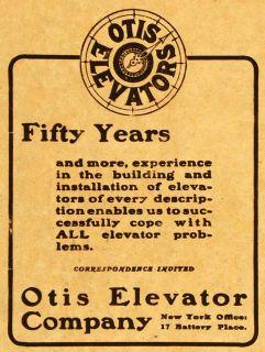 1905 Ad Fifty Years Elisha Otis Elevator Eiffel Tower Engineering