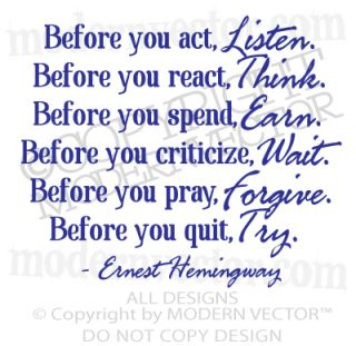 Ernest Hemingway Quote Vinyl Wall Decal Inspirational Lettering Before