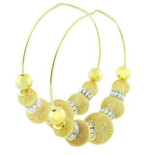 White Crystals CZ Mesh Balls Extra Large Womens Hoop Earrings