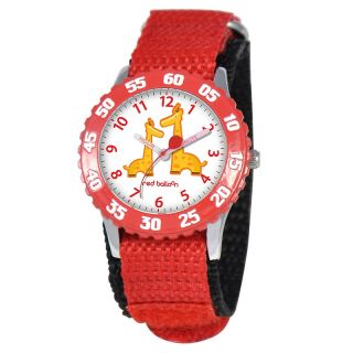 111 7967 red balloon kid s stainless steel time teacher watch red