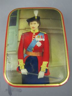 Vintage 1950s Queen Elizabeth II Military Uniform Tin