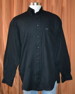 Faconnable Long Sleeve Black Button Front 100 Cotton Oxford Shirt Mens