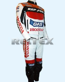 Repsol Gas CBR Fireblade Leather Motorcycle Biker Jacket Pant 2 PC