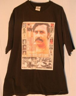 Pablo Escobar King of Coke Picture Graphic Black T Shirt Mens XXL