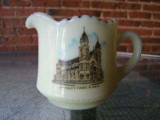 Vintage Souvenir Custard Glass Pitcher ST MARYS CHURCH ALTON IA
