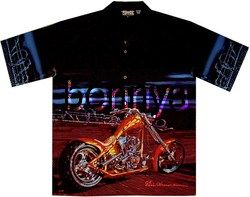 New Eric Hermann Barb Wire Biker Shirt Dragonfly L