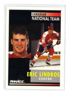 1991 92 SCORE PINNACLE Eric Lindros PHILADELPHIA FLYERS ROOKIE NHL