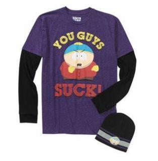South Park Eric Cartman Mens Long Sleeve Tee T Shirt w Beanie Cap Hat