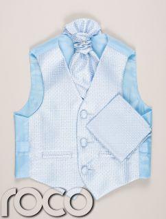 Boys Baby Blue Waistcoat Cravat Handkerchief Set Wedding Prom