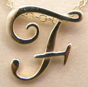 Letter  F  18K Gold Vermeil Pendent Necklace New