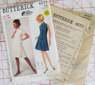 Vtg 1960s Butterick Pattern 4577 Misses Jean Muir Dress Bust 34 Size