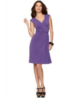Ellen Tracy New Purple Matte Jersey Criss Cross Front Ruched Casual