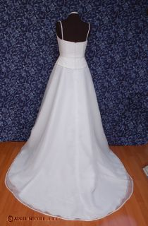 White Organza A Line Cute Simple Wedding Dress 12