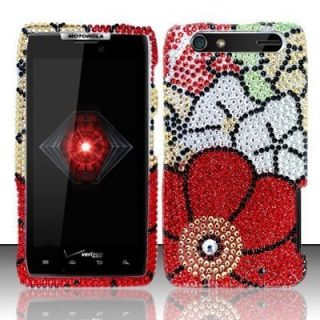 Droid RAZR Crystal Diamond Bling Case Phone Cover Fall Flowers