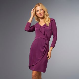 138 530 slinky brand slinky brand 3 4 sleeve mock wrap ruffled dress