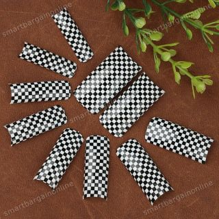 White Black Tartan Design Acrylic False Nail Tips 70pc