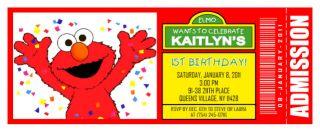 10 Elmo Sesame Street Personalized Ticket Birthday Invitations